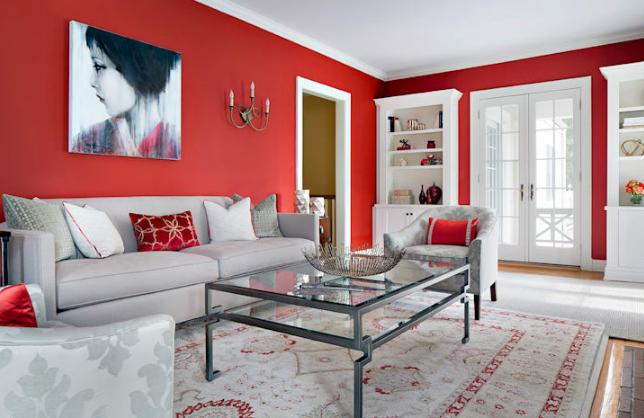 Kết quả hình ảnh cho phòng khách có gam màu đỏ chủ đạo